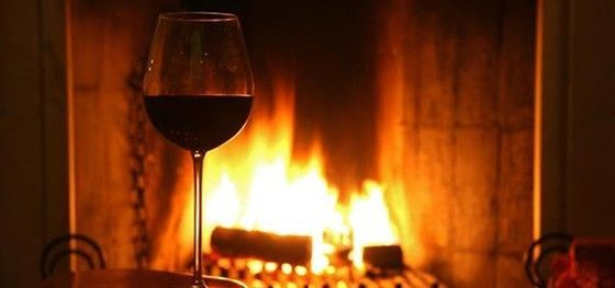 Wine next to the fire